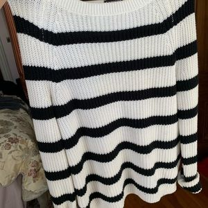 black and white striped express sweater